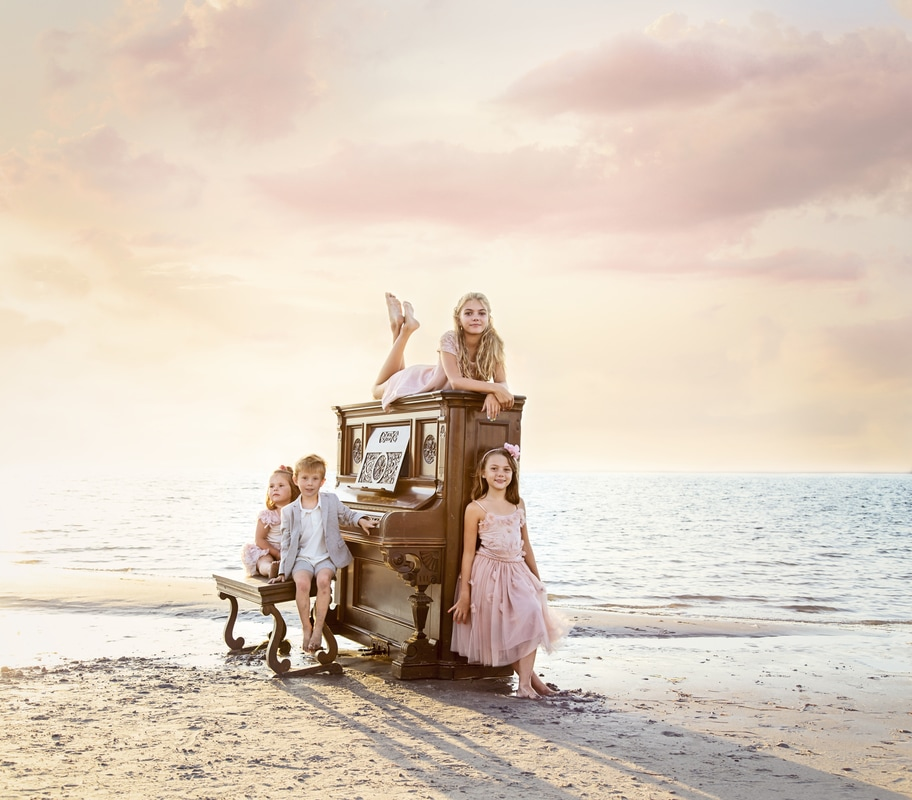 Next clothing uk, next official, mayfair family photographer johanna birch photography, hampstead photographer, sun set, golden hour, piano on the beach,