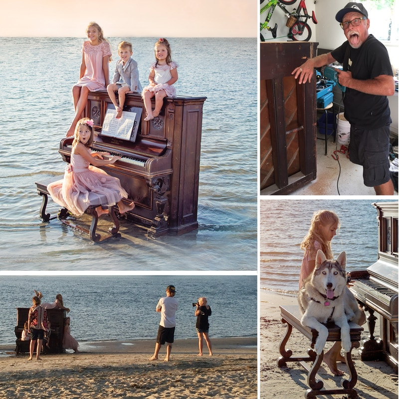 Hampstead photographer, Crown Point, Vintage piano, Cardiff by the sea, San Diego, London, family photographer
